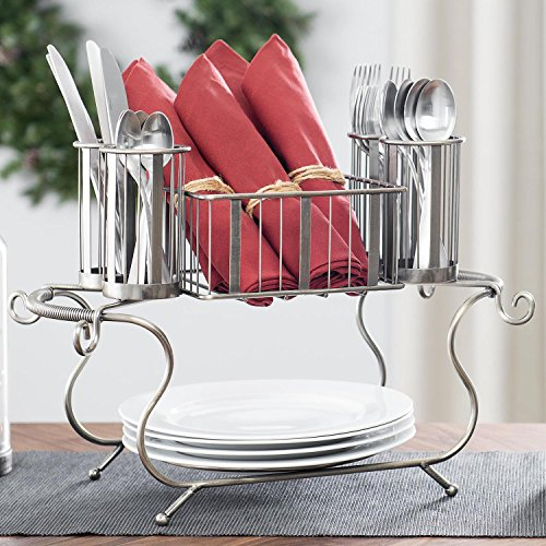 (MESA Delaware Buffet Silverware Caddy Dinner Plate Holder (Gunmetal Finish))