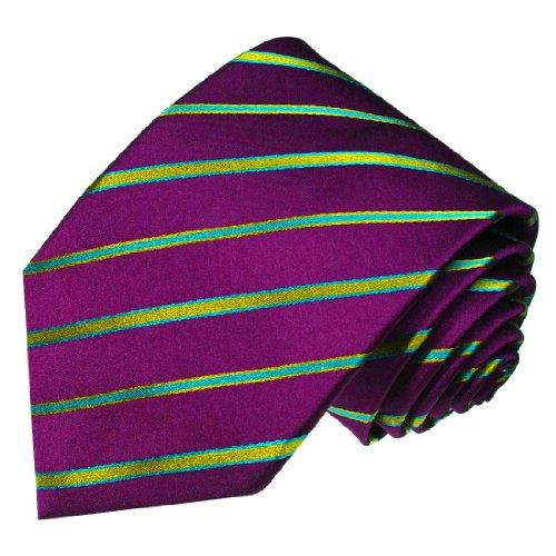 - LORENZO CANA - Italian 100% Silk Tie Woven Purple Cyan Green Stripes Necktie - 84437
