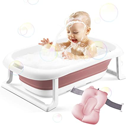3-in-1 Baby Bathtub Portable Collapsible Toddler Bath tub Foldable Infant Shower Basin Anti Slip Skid Proof with Baby Cushion for 0-5 Years Pink tub+Cushion