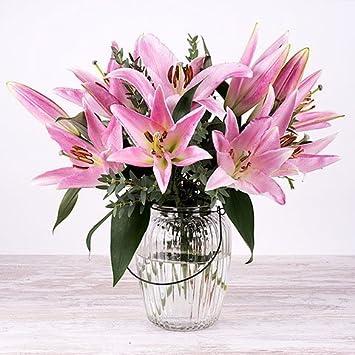 Flores Frescas Florachic - Lirios Rosas con jarrón vintage - flores enviadas directamente del campo a