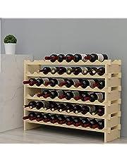 SogesPower 6-Tier Wine Rack Wood Wine Display Rack 60 Bottles, Free Standing and Countertop Wine Storage Shelf,SPBFL-WS002-CA