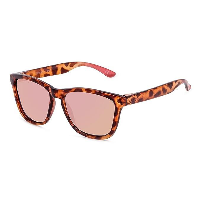 CORAL Sunglasses ROSETTA - Gafas de sol carey y lentes espejo revo oro rosa polarizadas.