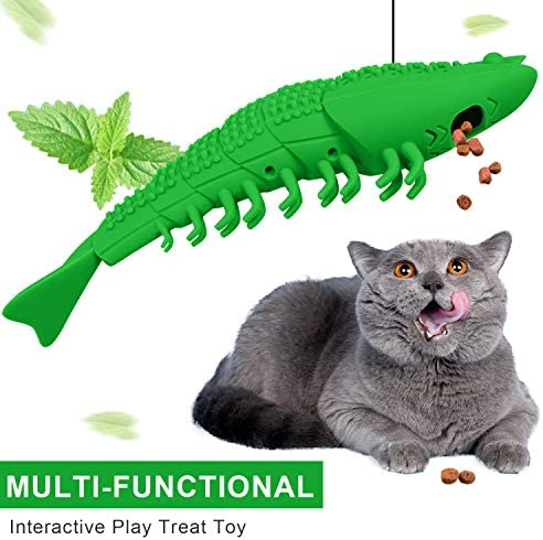 HETOO Cat Toys,Interactive Cat Toothbrush Catnip Chew Treat Toy for Kitten Kitty Cats Teeth Cleaning Dental Care,Crayfish Shape Pet Toy Cat 3