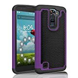 LG Treasure LTE Case, LG K7 Case, LG Tribute 5 Case, Tinysaturn(TM) [Ysaturn Series] Shock Absorbing Dual Rugged Hard Shell Rubber Against Scratches Cover Case For LG Tribute 5 / LG K7 [Purple/Black]