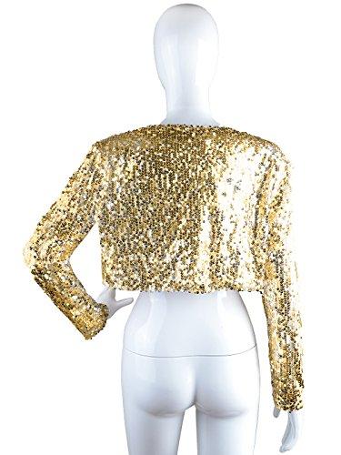 Giacca Paillettes Oro Glitter Cappotto Manica Anna Blazers Lunga kaci Cropped Giacche Donna Lustrino Shrugs Bolero aUOfFq