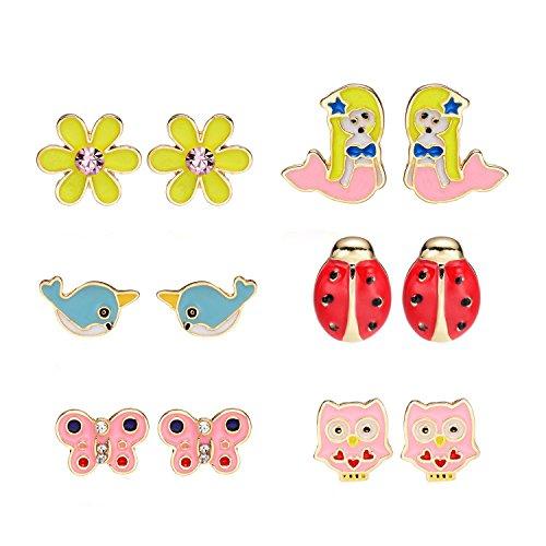 6 Style Cute Owl Flower Butterfly Mermaid Narwhal Ladybug Enamel Earrings Set for Women (Blue Enamel Butterfly Post Earrings)