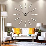 TAOtTAO Modern Large 3D DIY Mirror Surface Art Wall Clock Sticker Home Office Room Decor (Silver 50~100cm)