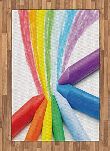 (Crayon Large Area Rug for Living Room Bedroom Creative Photo of Children Drawing Rainbow Blurred Background Art Class School Rubber Backing Non-Slip Indoor Floor Carpet, 4 x 5.7 FT, Multicolor)