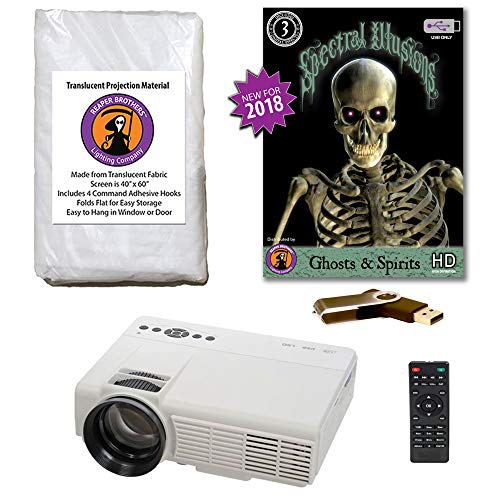 Spectral Illusions Ghosts & Spirits Compilation Video Projector Kit on USB with Reaper Brothers Rear Projection Screen. -