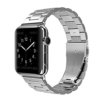Apple Watch Band, Men / Women Stainless Steel Sport Folding Clasp Smart Watch Replacement Bands for Apple iWatch 38mm - Silver