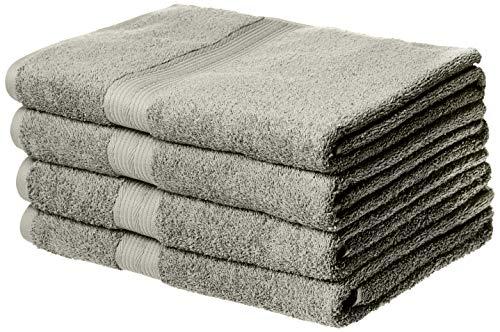 AmazonBasics Fade-Resistant Cotton Bath Towel – 4-Pack, Grey