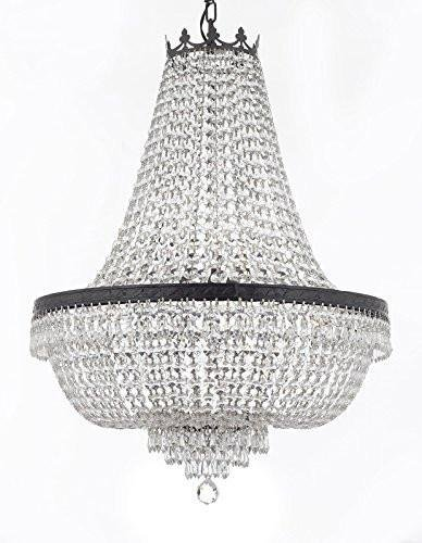 French Empire Crystal Chandelier Chandeliers Lighting H30 X W24 With Dark Antique Finish Good For Dining Room Foyer Entryway Family Room And