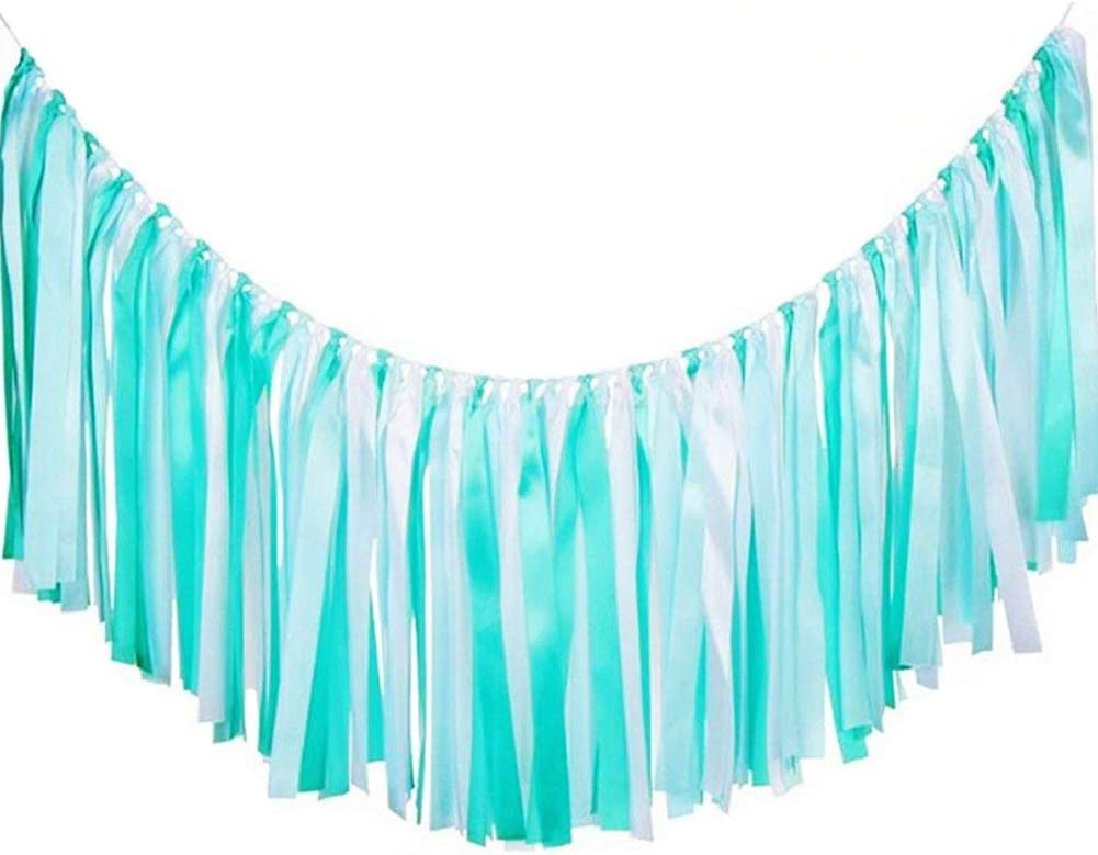 AZOWA Assembled Ribbon Tassel Garland Teal Blue Handmade Fabric Banner Fringe Hanging Decor for Wedding Nursery Photo Props Bridal Shower Party Garlands Decorations (40'' (L) X 14'' (H), Blue, White)