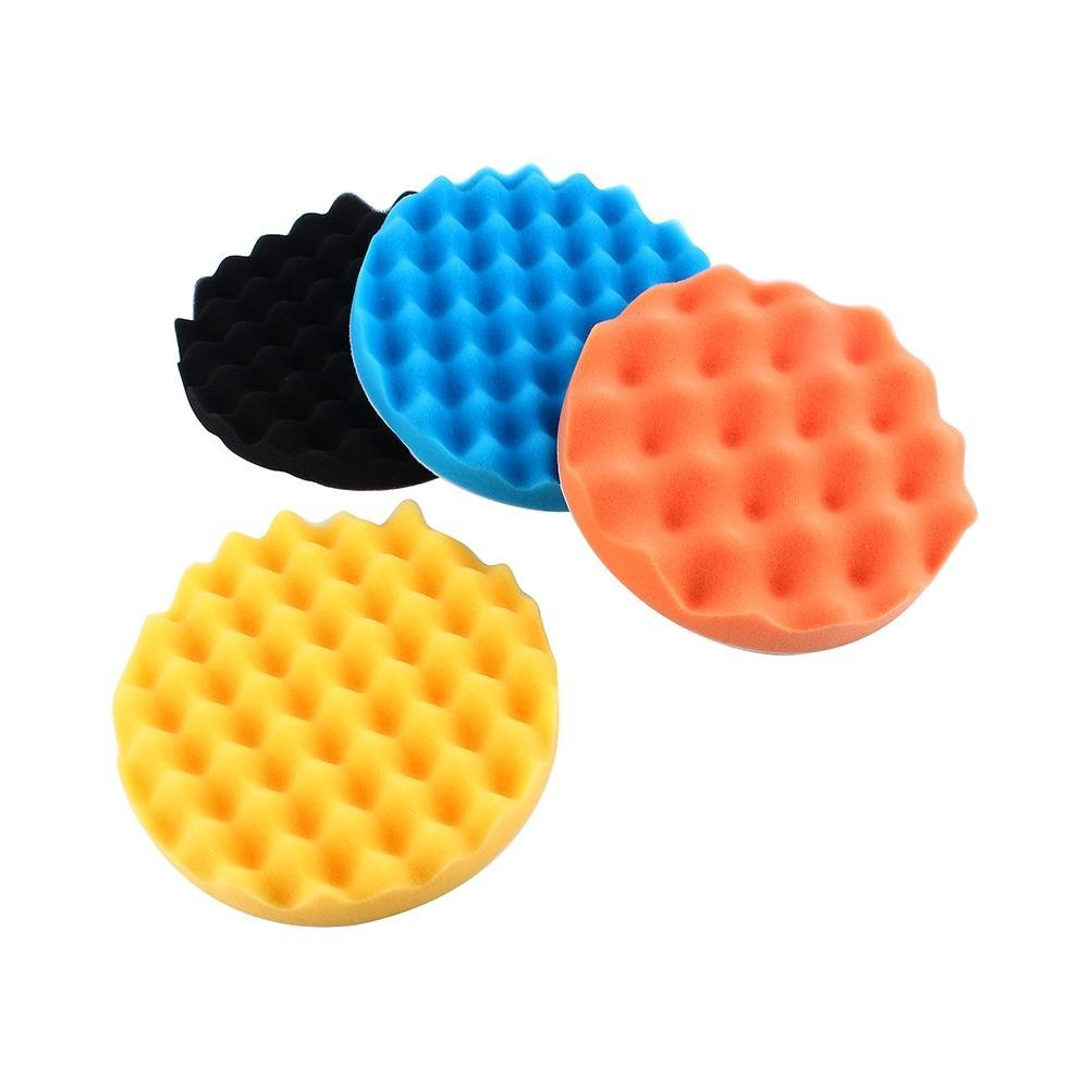 "4Pcs 7"" Polishing Pads Set, Sponge Foam Pads Buffing Wax Polisher Set for Automotive Wheels Hub Care GLOGLOW"