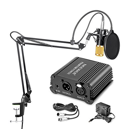 Neewer Condenser Microphone (Gold) + Suspension Boom Scissor Arm Stand+ Mounting Clamp+ Pop Filter+ 48V Phantom Power Supply by Neewer