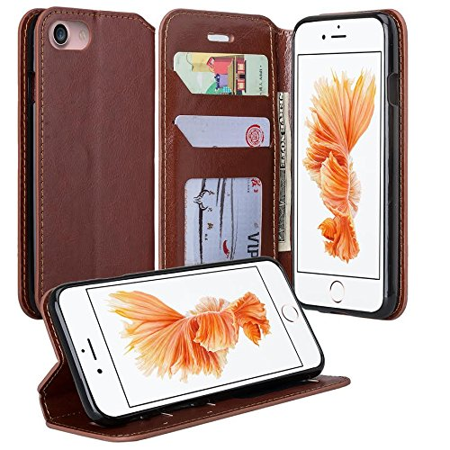 Iphone 7 Case  Apple Iphone 7 Wallet Case  Flip Folio  Kickstand Feature  Pu Leather Wallet Case With Id Credit Card Slot For Iphone 7   Brown Leather