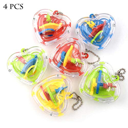 Mini Maze Ball, 4 PCS Puzzle Education Toy Stereoscopic Labyrinth Ball Addictive Maze Ball ()