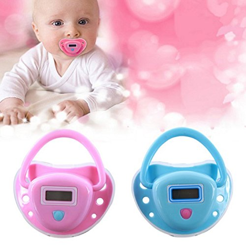 (2 Color) New Cute BABY THERMOMETER Safe Digital Kid Infant Pacifier Nipple Soother Tester (Blue)