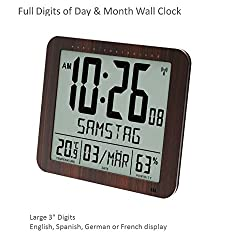 Franklin CL-2 Large Format 10 Atomic Digital Wall Clock with Day/Date, Temperature and Humidity