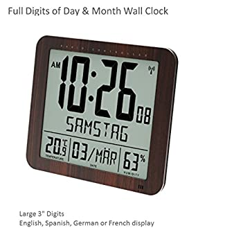Franklin CL-2 Large Format 10 Atomic Digital Wall Clock with Day Date, Temperature and Humidity