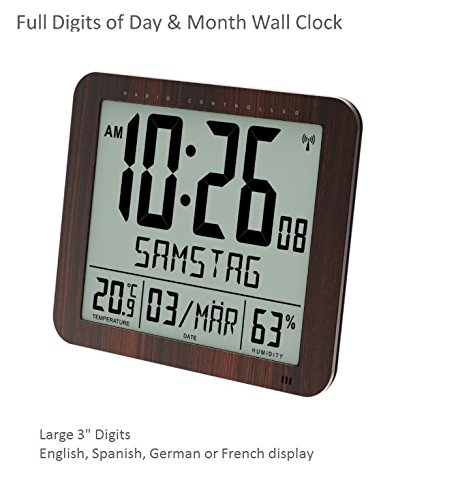 "Franklin CL-2 Large Format 10"" Atomic Digital Wall Clock with Day/Date, Temperature and Humidity"