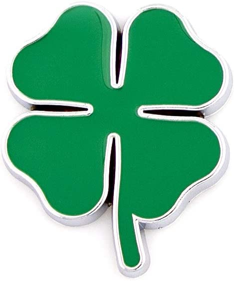 Green with black outline CARRUN 2Pc 3D Four Leaf Clover//Lucky Clover Chrom Metal Car Styling Emblem Sticker Auto 3D Decals Motorcycle Stickers