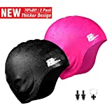 Wigoo Long Hair Swim Cap 2 Pack, 2019 Thicker Design, Waterproof Silicone Swimming Cap for Adult Woman and...