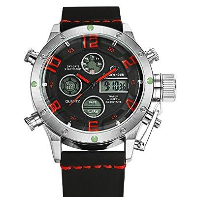 Tamlee PU Dual Time Multifunction Digital Analog Sport Watch 3Bar Waterproof Military Style Silver Red