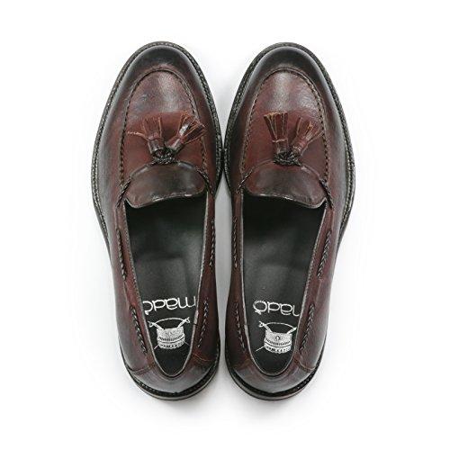 Mocassino Uomo in Pelle Tevere con Nappine Scarpe Artigianali Uomo Colore Bordeaux Calzature Italiane Leather Loafers Made in Italy