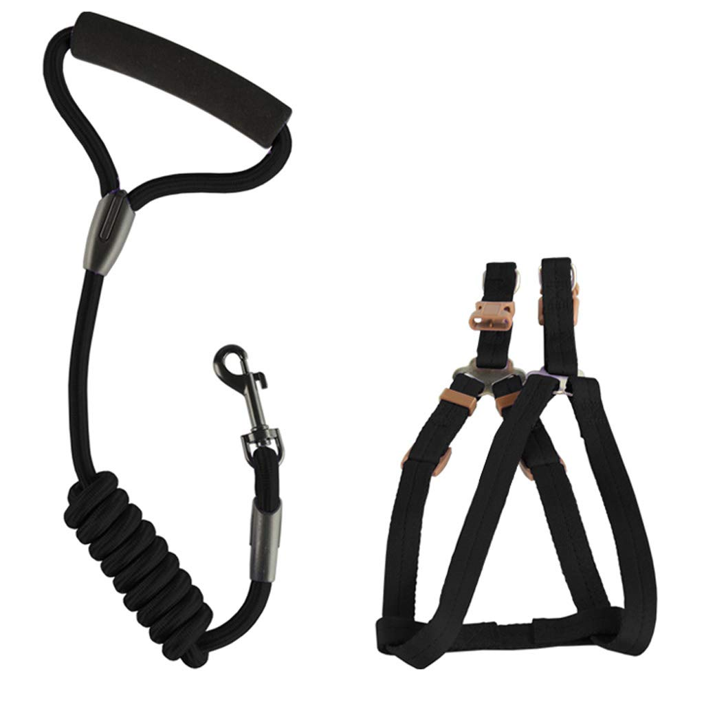 Black SmallDog Safety Vest Harness, Pet Dog Adjustable Harness with Walking Lead Leash Chest Strap Durable Comfortable