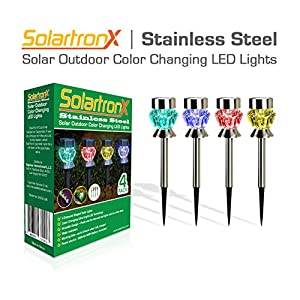 Solar Outdoor Lights - 4 Color Changing LED Lamps For Landscape Lighting - Ideal For Garden Pathway Patio Walkway and Yard - Beautiful Decorative Night Lights