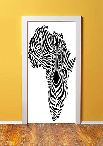 Valor Map - Safari 3D Door Sticker Wall Decals Mural Wallpaper,Illustration of African Map with Zebras Camouflage Stripes Patterns Cultural Print,DIY Art Home Decor Poster Decoration 30.3x78.9077,Black White