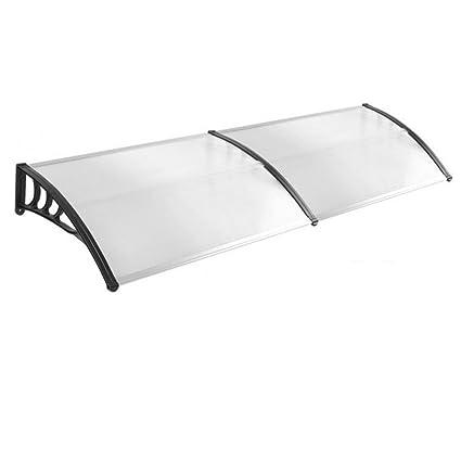 HENGMEI 90x300cm Pensilina Tettoia in Policarbonato Tenda da Veranda Cappottina per Porta o Finestra Cornice nera Fai da te