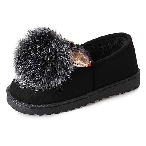 Zapato De Ballet para Mujer Mocasines De Invierno Precioso Peludo Peludo Calzado con Cordones Zapatos De AlgodóN CóModos: Amazon.es: Zapatos y complementos