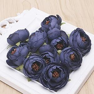 JAGENIE 10 Pcs Artificial Flower Camellia Head for Bride Hair Clip Xmas Brooch Craft Wedding 79