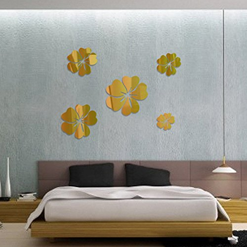 FAERIE 3D Mirror Floral Art Removable Wall Sticker Acrylic Mural Decal Home Room Decor (Gold)