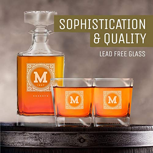 Personalized Whisky Decanter & Whiskey Glass Combo Lead Free : The Heirloom by Swanky Badger (Image #5)