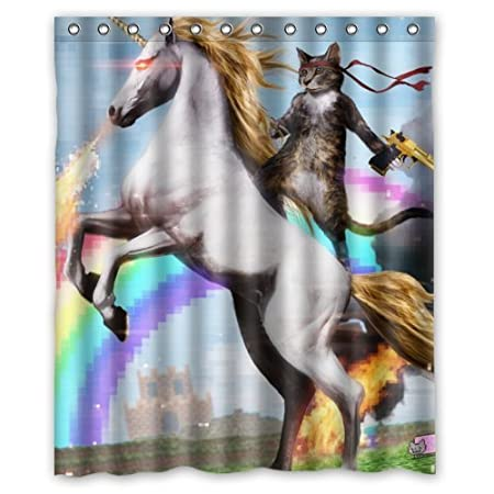 Funny Unicorn And Cat Shower Curtain Rings Included 100 Polyester Waterproof 60 X 72 Amazoncouk Kitchen Home