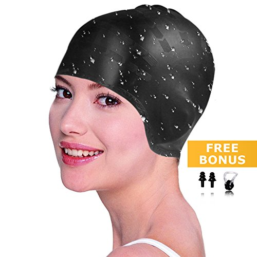 Silicone Long Hair Swim Cap,Waterproof Swimming Caps for Unisex Adult Men Women Girls Swim Caps,Protects Your Hair and Ears while Swimming Free with Nose Clip and Ear Plugs,Amazing Summer Gift (Black)