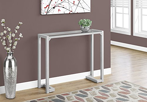 Monarch Specialties I 2107 Accent Table-42 L Tempered Glass Hall Console, Silver