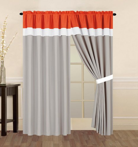 Amazon.com: 4 Piece Coral Orange, Grey and White Curtain set with ...