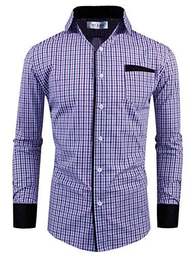 Tom's Ware Mens Premium Slim Fit Checkered Plaid Cotton Longsleeve Shirt - Purple Tom