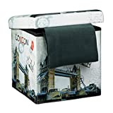 Relaxdays 'London Cube Folding Seat Box Ottoman with Trendy Motifs and Removable Lid, Faux Leather, Multi-Colour, 38 cm