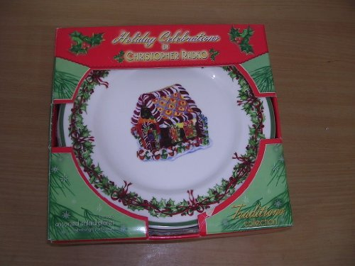 Christopher Radko Celebrations Set 4 Salad Plates NEW Christopher Radko Christmas Plates