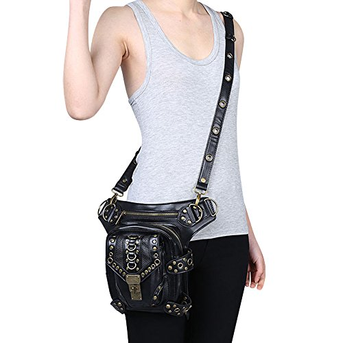 Waist Bag Purse Gothic Pack Leg Coin Shoulder Steampunk Handbag Punk Vintage OMAS qT0XEE