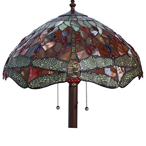 Bieye Dragonfly Tiffany Floor Lamp, 63-inches