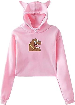sdfasdfafd Damska Kapuzenpullover Langarm Oberteile Bluse, Womens We Bare Bears Navel Exposure with Hood Cat Ear Long Sleeves Fashion Hoodie Black: Odzież