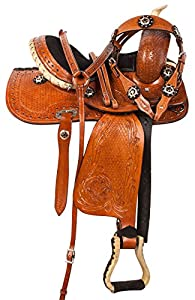 "10"" 12"" 13"" Black Crystal Hand Carved Western Leather Pony Youth Kids Pleasure Trail Show Horse Saddle Pony Tack Set"