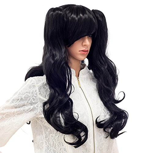 SWACC Long Curly Double Claw Clip On Ponytail Cosplay Wig For Party Costume (Halloween Costumes Using Little Black Dress)