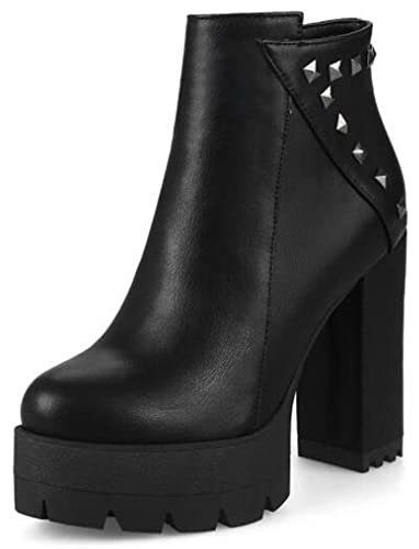Women's Unique Studded Platform High Chunky Heels Ankle Boots Side Zipper Booties